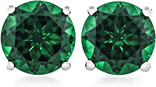 Acacia Collection Premium Quality Simulated Emerald (Nano Gems) Martini 4 Prongs Sterling Silver Hypoallergenic Stud Earrings Round 2.50 Carat (ctw) Gems Cut 7mm Flat on Ear, Rich in Color, Elegant!