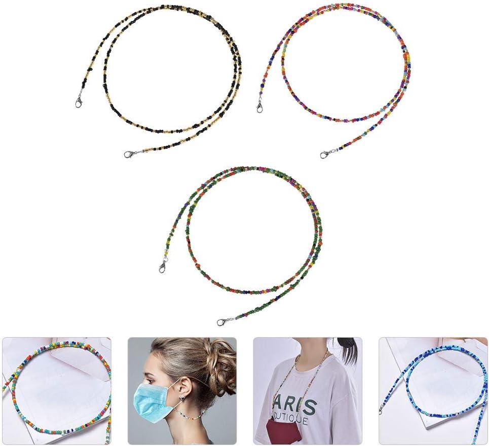 Abaodam 3PCS Bead Hanging Chain Sunglasses Holder Strap Multi- Chain