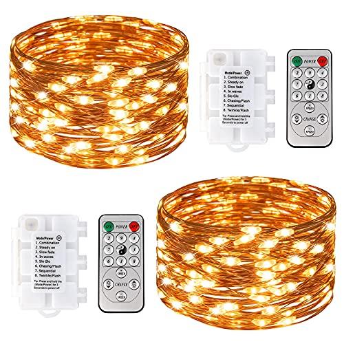 STARKER 2 guirnaldas de luces LED, cable de cobre con conector USB, 8 modos de temporizador, regulables, con mando a distancia para casa, Navidad, decoración de jardín, blanco cálido