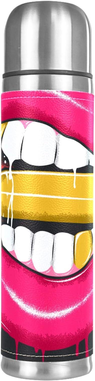 Termo Café 500ml lápiz labial, balas de labios Frasco de Vacío de Acero Inoxidable Para el hogar, la oficina, la escuela, los viajes, al aire libre 26x6.7cm