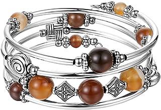 Beaded Pearl Bangle Wrap Bracelet - Fashion Bohemian...
