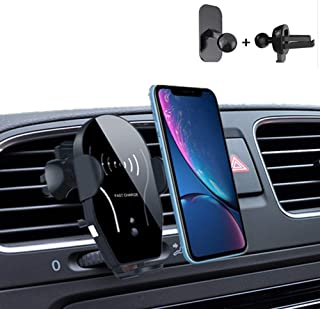 QinTian Wireless Car Charger Mount, Auto Clamping 10W/7.5W Qi Fast Car Charger Phone Holder, Windshield Dashboard/Air Vent Compatible with iPhone Xs/Max/X/XR/8/8 Plus,Samsung Note 9/ S9/ S9+