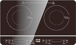 Plaque de Cuisson, Plaque Induction Portable Double de 3500W, 10 Niveaux de Température, Contrôle Indépendant, Plusieurs N...