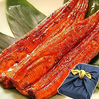 国産うなぎ お中元 ギフト 鰻(うなぎ)の特大長蒲焼きセット 風呂敷包み (2本セット 紺色風呂敷)