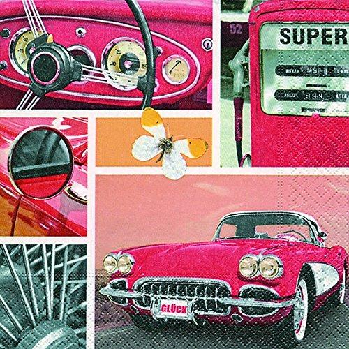 20 Servietten Oldtimer Collage/Auto 33x33cm