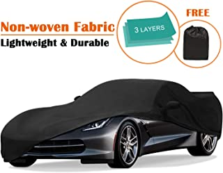 OOFIT Chevy Corvette Car Cover for C7 2014-2019, All Weather Waterproof, Dust-Proof, Scratch Proof Chevy Corvette Car Cover & Adhesive Repair Patch, Black