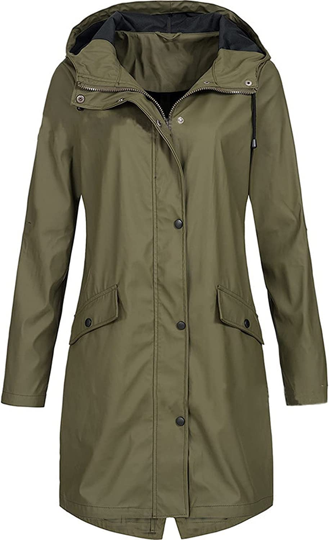 VonVonCo Womens Plus Size Tops Pure Rain Outdoor Plus Size Wear A Hat Raincoat Windproof Long Jacket Coat