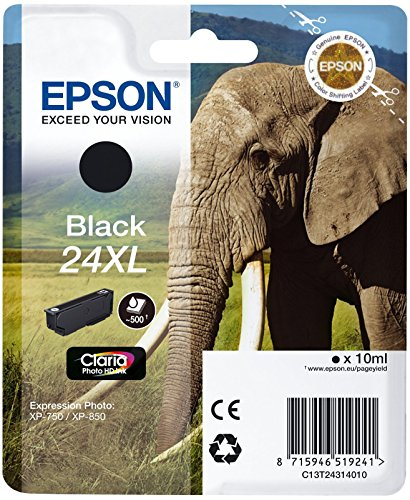 Epson Original 24XL Tinte Elefant (XP-750 XP-850 XP-950 XP-55 XP-760 XP-860 XP-960 XP-970, Amazon Dash Replenishment-fähig) schwarz