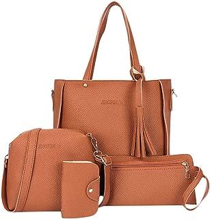 Sturdy Wallet Handbag Bolsa 4 Pcs Handbags Women Bags Desinger Girl Fashion Four-Piece Shoulder Messenger Handbag Large Capacity (Color : Brown)