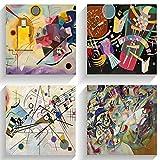 salpie - decorazione interni quadri piccoli moderni kandinsky stampa su tela canvas arte arredo casa ufficio soggiorno salotto cucina camera da letto 4 pz (20 x 20 cm)