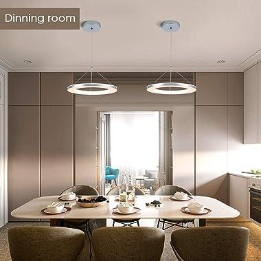 CHYING LED Pendant Light, Mini Modern Chandelier Ceiling Light Fixture, 1-Ring, 15W, Warm White, 3000K, Adjustable Hanging Pe
