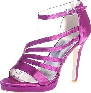 Vimedea Womens Ankle Strap Sandals Heeled Platform Sexy Wedding Bride Open Toe Satin 5915-23