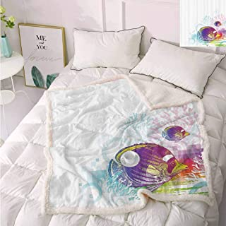 Animal Decor Soft Throw Blankets Colorful Squids Surrounded by Algae Swimming in The Ocean Pixel Featured Exotic Sea Graphic Frozen Blanket Multi 50″x65″