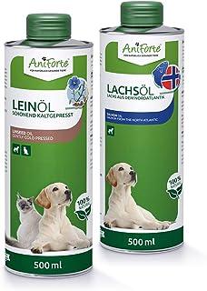 AniForte Bare Oil Set 2 con 500ml cada uno de aceite de linaza y aceite de salmón - producto natural para perros y gatos, ...