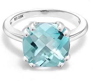 Gem Stone King 925 Sterling Silver Sky Blue Topaz Women Ring (4.65 Ct Cushion Checkerboard, Gemstone Birthstone, Available...