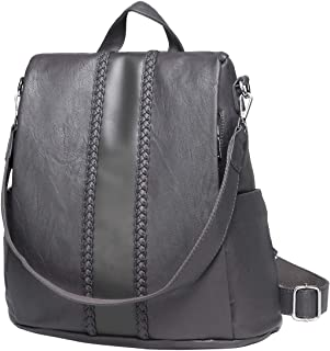 Backpack Purse for Women,VASCHY Fashion Faux Leather Anti-theft Backpack for Ladies with Vintage Weave