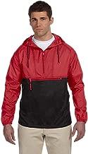 Harriton Packable Nylon Jacket> RED/BLACK M750