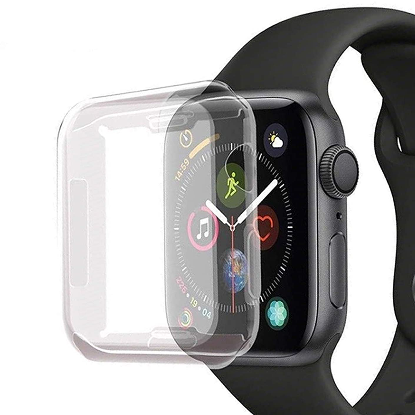 iWatch 44mm Screen Protector [3D Touch] Overall Protective Case with Buit in TPU Screen Protector HD Clear Soft Ultra-Thin Cover Apple Watch Series 4 44mm