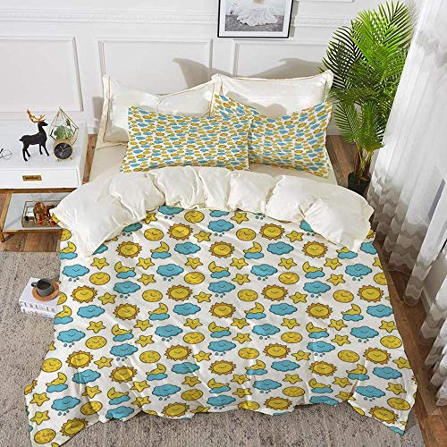 Baby,Sleepy Morning and Night for Kids Boys Girls Moon Rainy Clouds Stars Sun,Earth Yel,Hypoallergenic Microfibre Duvet Cover Set 200 x 200cm with 2 Pillowcase 50 X 80cm