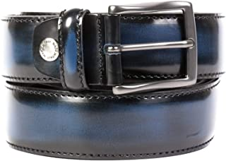 OAKS Cinture Dautore, uomo, cintura spazzolata a mano di Colore Blu,Vera Pelle di vitello,100% Prodotto Artigianale 100% M...