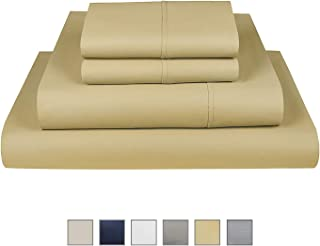 "Fisher West New York The Village 500 Thread Count Cotton Light Gold Twin Sheet 3-Piece Set fits Mattress Upto 17"""