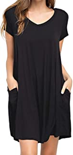 Amytrade Womens Loose T-Shirt Dress with Pocket Short Sleeve Swing Tunic Long Tops