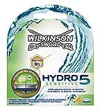 Wilkinson Sword Hydro 5 Sensitive - Recambio de Cuchillas de Afeitar de 5 Hojas para Hombres con Piel Sensible, Banda Lubricante Extra Hidratante, 4 Unidades