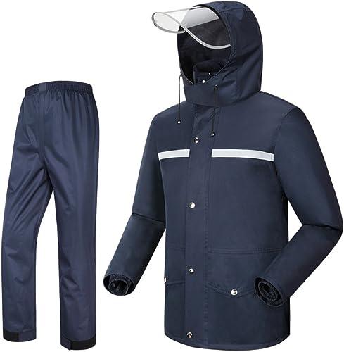 Imperméable Pantalon de Pluie Costume, Split Hommes Adultes et Les Femmes de Mode en Plein air Moto (Couleur   Bleu Marin, Taille   L)