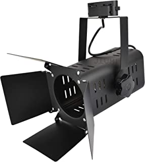 J.LUMI TRK9001 Theater Track Lighting Head, Stage Light with Barn Door Flippers, Black Frost Paint Finish, Vintage Modern Industrial, Uses PAR30, A19 or ST64 Bulb with E26 Base (Bulb not Included)