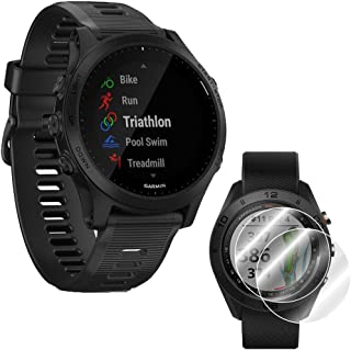 Garmin Forerunner 945 GPS Bluetooth Sport Watch (Black) with Screen Protector (2-Pack) for Smartwatch Bundle - 010-02063-00