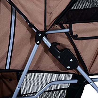 PawHut Pet Stroller Cat Dog Basket Zipper Entry Fold Cup Holder Carrier Cart Wheels Travel Brown 6