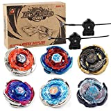 Gyros 6 Pieces Pack, Battling Tops Metal Fusion Starter Set with Stickers Two Launchers Gift Idea Toys for Boys Kids Children Age 6+