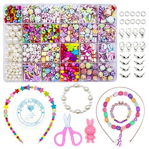 WonderforU Children DIY Beads for Jewellery Bracelet Necklaces String Making Kit, Friendship Bracelets Art Craft Kit for Girls Kids, 24 Colors