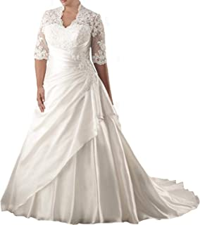 Elegant Women s Plus Size Wedding Dresses for Bride Long Appliques Lace  Ball Gowns 3 4 0030ec2ff959
