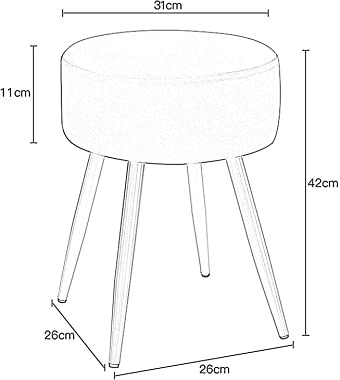 LIXIONG Ottoman, Linen Round Footrest Stool with Removable Cover and Anti-Slip Pad Upholstered Nursing Stool for Hallway Shop