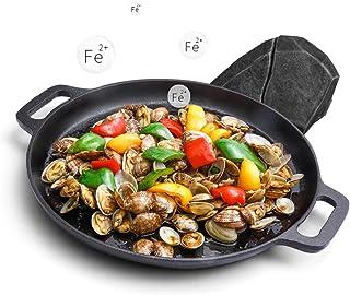 XHCP Paellera, sartén de Hierro Fundido Utensilios de Cocina de Hierro Fundido, woks y sartenes, Wok de Servicio de Comida de la Ciudad, 35 cm