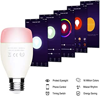 WiFi Smart LED Light Bulb,RGB Music Sync Dimmable Color Changing Bulbs, Decorative Lights, Mood Light Bulb,Dimmable,Timing Function,Works with Google Home, Alexa, IFTTT,E27 7W