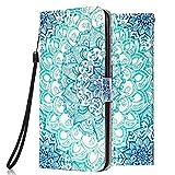Funda Libro para Apple iPhone 11 6.1 Carcasa de Cuero Efecto de Mármol Animal Flip Wallet Case Cover con Tapa Teléfono Piel Tarjetero - Mandala Azul
