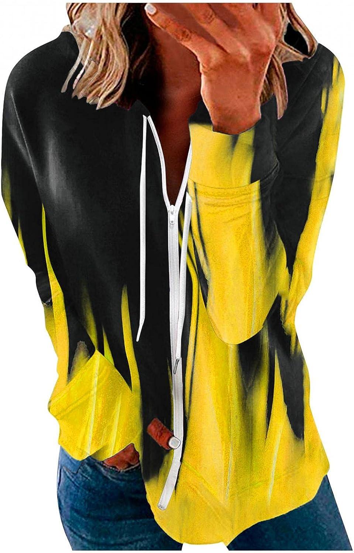 UOCUFY Hoodies for Women, Womens Long Sleeve Zip Up Casual Sweatshirt Lightweight Drawstring Color Block Hoodie Coat