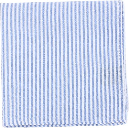 Sky Blue / White Fazzoletto di cotone a righe di Knightsbridge Neckwear