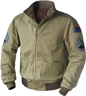 Mens Brad Pitt Vintage WW2 Fury Tanker Military Patch Bomber Cotton Jacket