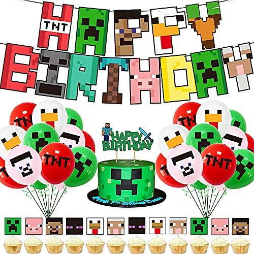 FANDE Video Game Partyzubehör, 38 Pcs Geburtstag Dekoration, Miner Gamer Thema Party Dekoration mit Luftballons, Happy Birthday Banner für Miner Gamer Party Favors Party Zubehör