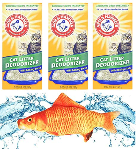 Kitti Variety Pack Bundle Including (1) 7.5' Triple Strength Catnip Toys and (3) Arm & Hammer Cat Litter Deodorizing Powder w/Baking Soda, 20oz Boxes