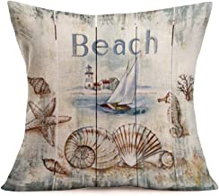 Asamour Ocean Beach Style Throw Pillow Covers Nautical Sailboat Marine Life Lighthouse Design Cotton Linen Cushion Cover Square Pillow Case Office Pillowslip 18''x18'',Vintage Wood (Ocean Beach)