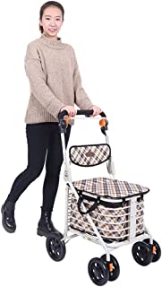 Shower Accessories Shopping Basket Trolley Old Man Shopping Cart Buy Food Small Cart Hand Push Can Sit Home Light Four-Wheeled Vehicle Foldable with Brake Gift Can Bear 100kg