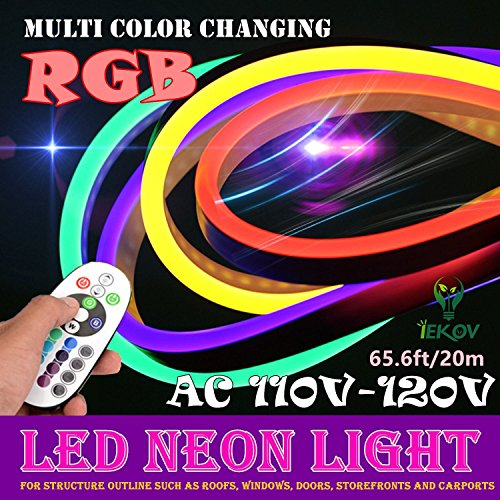 IEKOV LED NEON Light, AC 110-120V Flexible RGB LED Neon Light Strip, 60 LEDs/M, Waterproof, Multi Color Changing 5050 SMD LED Rope Light + Remote Controller for Party Decoration (65.6ft/ 20m)
