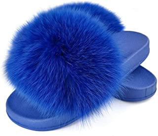 Women's Real Fox Fur Slides, Open Toe Cute Fur Slippers, Indoor or Outdoor Comfortable Fur Slide Sandals with Fluffy Fur and Soft Sole