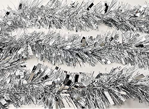 YLAB Viele Farben Lametta: 6 Stränge, 2 Meter pro Strang (Silber)