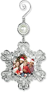 BANBERRY DESIGNS Christmas Photo Ornament - Silver Metal Snowflake with Crystals and Pearls - Hanging Snowflake Ornament - Filigree Snowflake