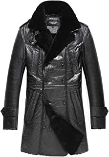 Men's Sheepskin Shearling Trench Coat Black Double Breasted CW858352